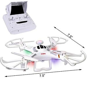 "Quadcopter Drone w/HD Camera & Lights 5.8GHz 6-Ch/6-Axis 5"" LCD"