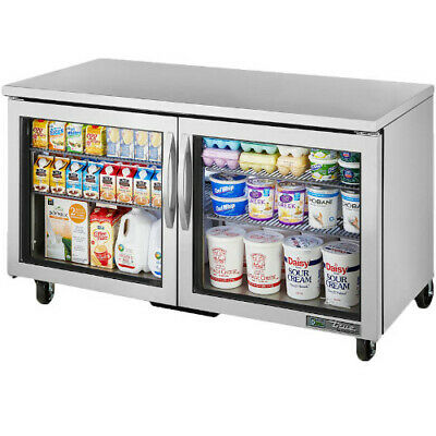 True Tuc-60g-hcfgd01 Two Section Glass Door Undercounter Refrigerator