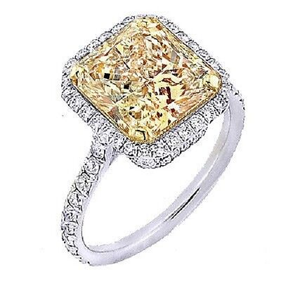 2.20 Ct. Fancy Yellow Radiant Cut Diamond Engagement Ring GIA VS2 18k NATURAL