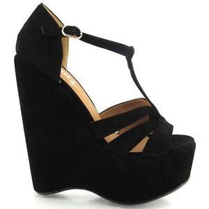 d948977e64a Black Suede Wedge Sandals