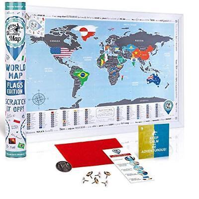 Mappa del Mondo da Grattare con Bandiere - Poster Bandiere del Mondo (j1D)