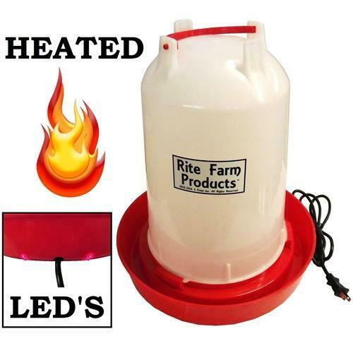 """3.7 GALLON """"HEATED"""" RITE FARM PRODUCTS GRAVITY POULTRY WATERER, 6ft CORD CHICKEN"""