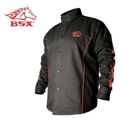 Revco Bx9c-s Bsx Flame-resistant Welding Jacket - Black With Red Flames Size Sm