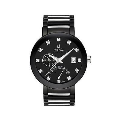 Bulova Mens 98D109 Black IP Stainless Steel Multifunction Diamond Accented Watch