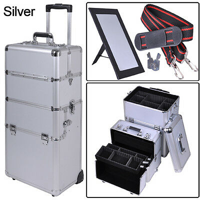 "2in1 Pro Aluminum Rolling Makeup Cosmetic Train Case 38"" Lockable Wheeled Box on Rummage"