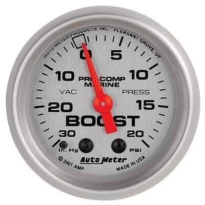 """Auto Meter 200774-33 2-1/16"""" Vacuum/Boost Gauge Mechanical Marine Silver"""