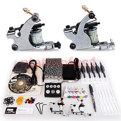 Tattoo Starter Kit 2 Machine Guns 6 color inks Supply Set Equipment Dunhuang-1-2 on Rummage