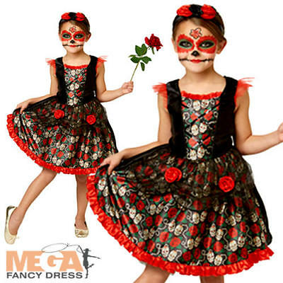 Red Rose Day of the Dead Girls Fancy Dress Candy Sugar Skull Childs Kids (Sugar Candy Skulls Kostüm)
