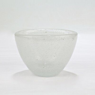 Venini Art Glass - Signed White Pulegoso Art Glass Vase By Carlo Scarpa For Venini - GL