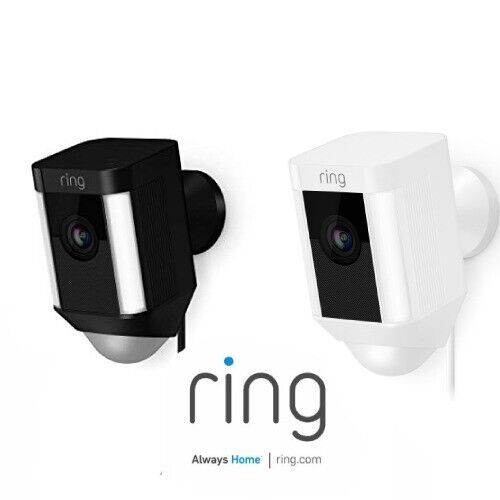 Ring Spotlight Cam Wired Outdoor Rectangle Security Camera White