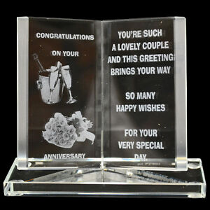 NEW ENGRAVED GLASS CRYSTAL BOOK GIFT SET POEM POETIC WRITING MESSAGE MUM DAD