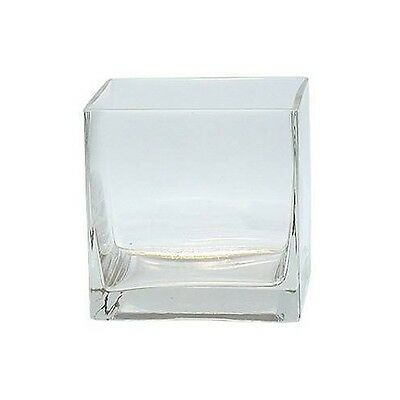 "Clear Square Glass Vase Cube - 5 Inch - 5"" x 5"" x 5"" Centerpiece - Candle Holder"