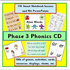 PHONICS PHASE 3 CD SMART BOARD LESSONS GAMES ACTIVITIES RESOURCES LETTERS SOUNDS