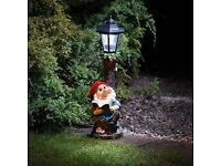 Solar Powered Garden Gnome with Light Up Lamp Post