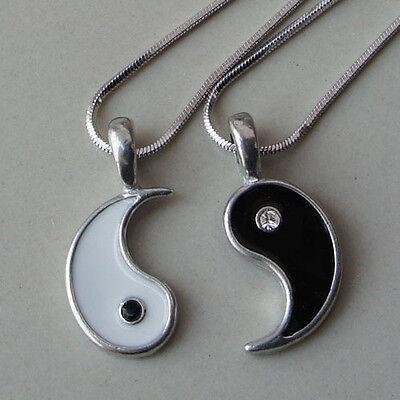 Split Yin Yang Love Best Friend Black and Clear Crystal Silver Pewter Pendant