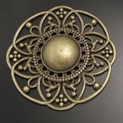 5pcs Antiqued Bronze Vintage Alloy Circle Flower Pattern Pendant Charms - Antiqued Bronze Pattern