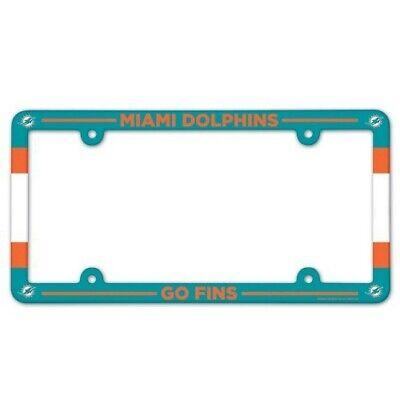 MIAMI DOLPHINS ~ (1) NFL License Plate Frame Cover Holder Plastic ~ Go (Miami Frame)