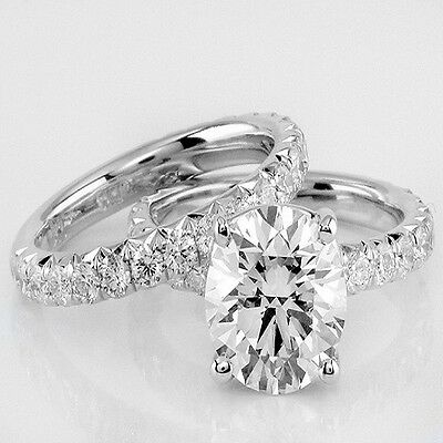 Authentic 2.30 Ct. Bridal Set Oval Cut Diamond Ring GIA Certified F, SI1