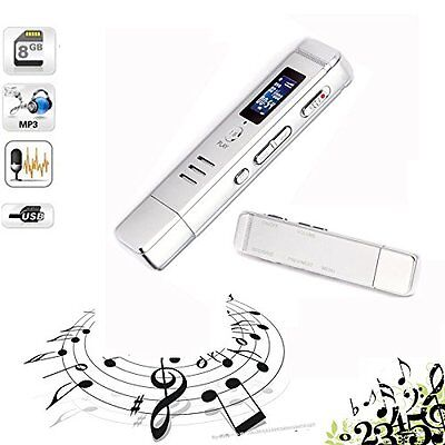 8GB USB LCD Screen Digital Audio Voice Recorder Dictaphone MP3 Player