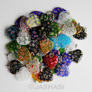 10 Millefiori Heart Glass Charms Pendants 20mm Jewellery Making Crafts (008)