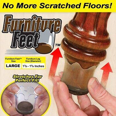 Chair Leg Floor Protectors Furniture Feet Flexible  8 Pack Large Size floors