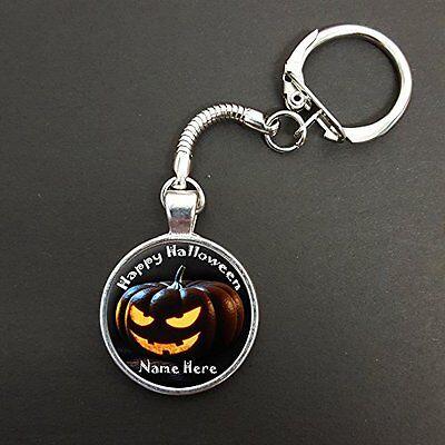 Personalised Happy Halloween Pumpkin Pendant On A Snake Keyring Ideal Gift N688 (Happy Halloween N)