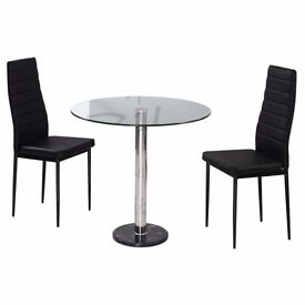 """***SALE ENDS SOON***:: 80% OFF """" BRAND NEW BALI ROUND GLASS DINING TABLE /SET WITH 2 CHAIRS ONLY 89"""