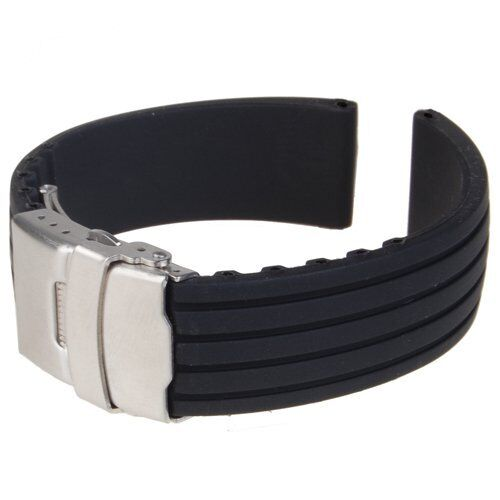 Black Silicone Rubber Watch Strap Deployment Buckle Waterproof 22mm BF