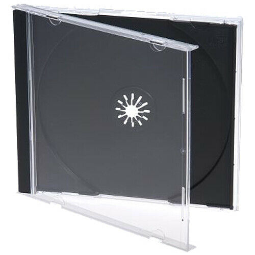 50 Standard 10.4 mm Jewel Case Single CD DVD Disc Storage Assembled Black Tray