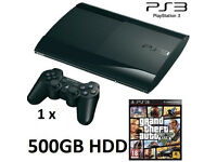 PS3 Super Slim 500GB HDD + GTA V Game Bundle
