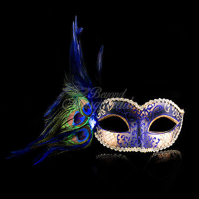 Blue & Gold Peacock Masquerade Mask with Feathers Venetian Details for - Masquerade Mask With Feathers