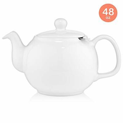 SAKI Large Porcelain Teapot, 48 Ounce Tea Pot with Infuser, Loose Leaf Tea Large Leaf Tea