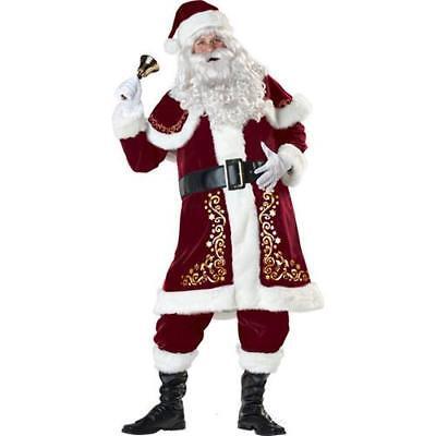 Deluxe 10PCS/SET Weihnachtsmann Anzug Plüsch CHRISTMAS Kostüm Weihnachten Kleid