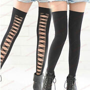 Black Thigh High Opaque Socks