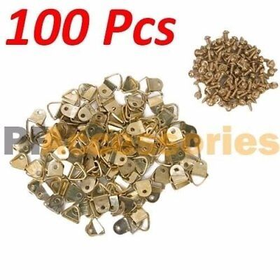 "100 Pcs 1/2"" inch D Ring Hanging Picture Frame Hanger Hooks Brass Plated Screw"