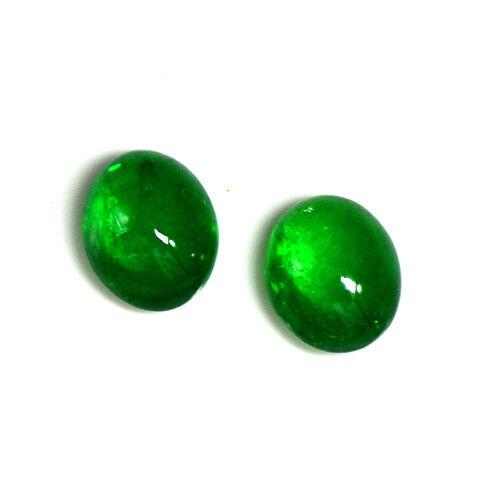6.61 Cts Natural Green Tsavorite Garnet Cabochon Pair 10 x 8 mm Oval Gemstone $