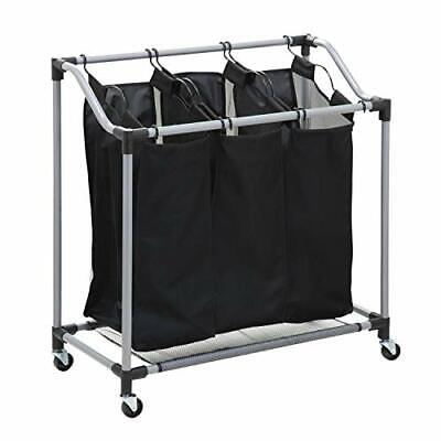 """Honey-Can-Do Triple Laundry Sorter with Mesh Bags Steel/Black 30.75"""" x 15"""" x ..."""