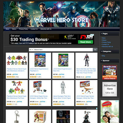 Marvel Hero Fans Store Online Business Website For Sale Make Money At Home Fast