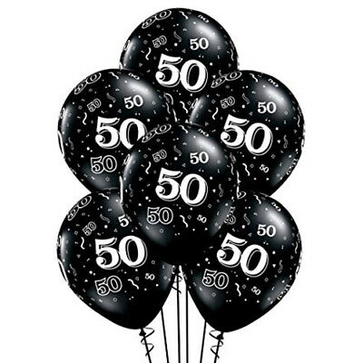50th Birthday Anniversary Black White Balloons Party Decoration Supply Fiftieth