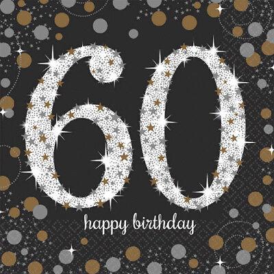 60th Birthday Napkins (OVER THE HILL Sparkling Celebration 60th BIRTHDAY LUNCH NAPKINS (16) ~)