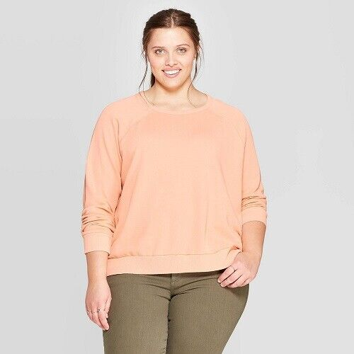 Women's Plus Size Long Sleeve Crewneck Sweatshirt – Universal Thread Peach 1X Clothing, Shoes & Accessories