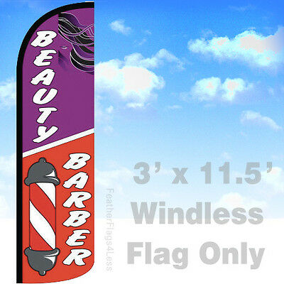 Beauty Barber - Windless Swooper Feather Flag Banner Sign 3x11.5 - Q