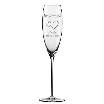 Personalised Bridesmaid Champagne Flutes Glass Hearts & Stem Charm add name](Bridesmaid Champagne Flutes)