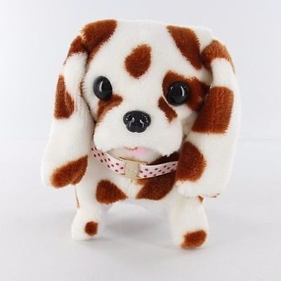 NEW KID'S BATTERY OPERATED BARKING WALKING WAGGING CUTE BROWN DOT PUPPY DOG TOY