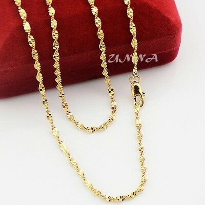 """1PC 24K Gold Plated 2mm Women's Twist Water Wave Rope Chain Necklace 20"""" N65"""