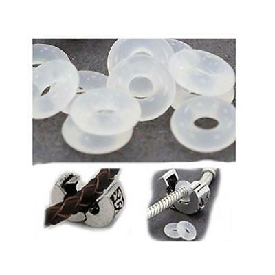 20 Clear Silicone Stopper Bead Spacer Charm or Clip Over For Snake Chain Charm B Beads & Jewelry Making
