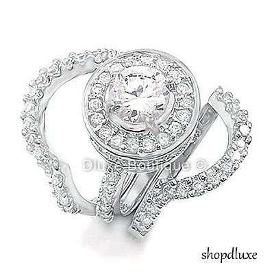 4.95 CT HALO ROUND CUT .925 STERLING SILVER WEDDING RING SET WOMEN'S SIZE 4-11 1