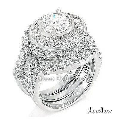 4.95 CT HALO ROUND CUT .925 STERLING SILVER WEDDING RING SET WOMEN'S SIZE 4-11