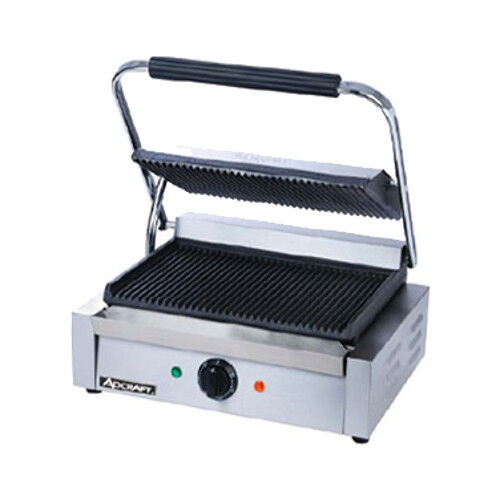 "Adcraft Sg-811e 13"" Countertop Single Sandwich Grill Grooved Plates"