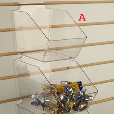 "Slatwall Acrylic Bins Small Bin 6"" L x 5.5"" H x 7.5"" D - Clear - 10 Pieces"